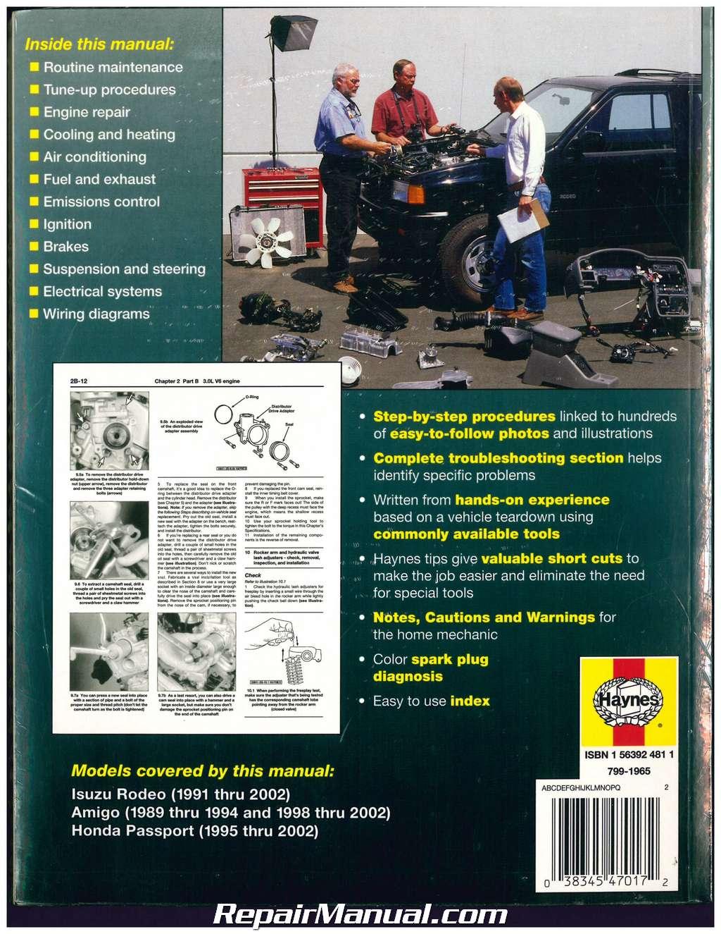 hight resolution of isuzu rodeo amigo honda passport 1989 2002 haynes automotive repair manual