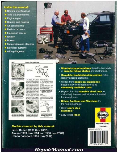 small resolution of isuzu rodeo amigo honda passport 1989 2002 haynes automotive repair manual