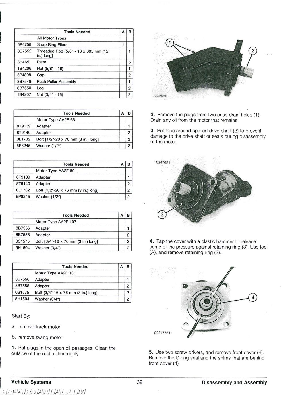 Caterpillar 225B 229 Excavator Service Manual