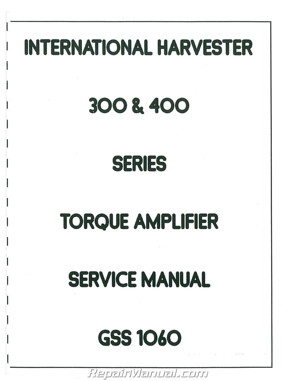 International Harvester 606 and 2606 Service Manual