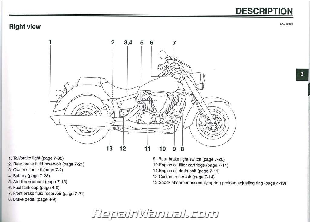 2009 Yamaha XVS1300 V-Star Motorcycle Owners Manual