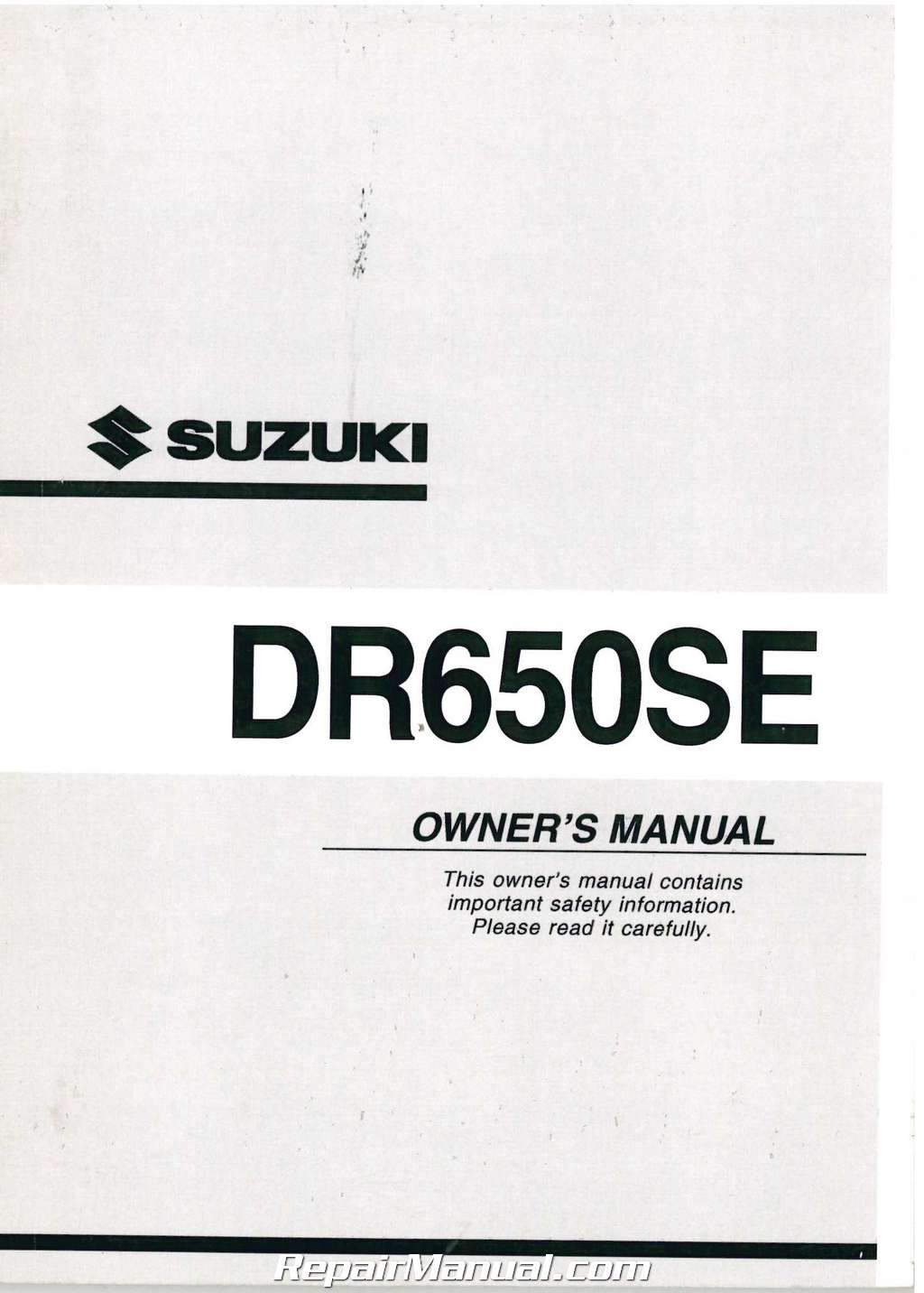 2003 Suzuki DR650SEK3 Motorcycle Owners Manual