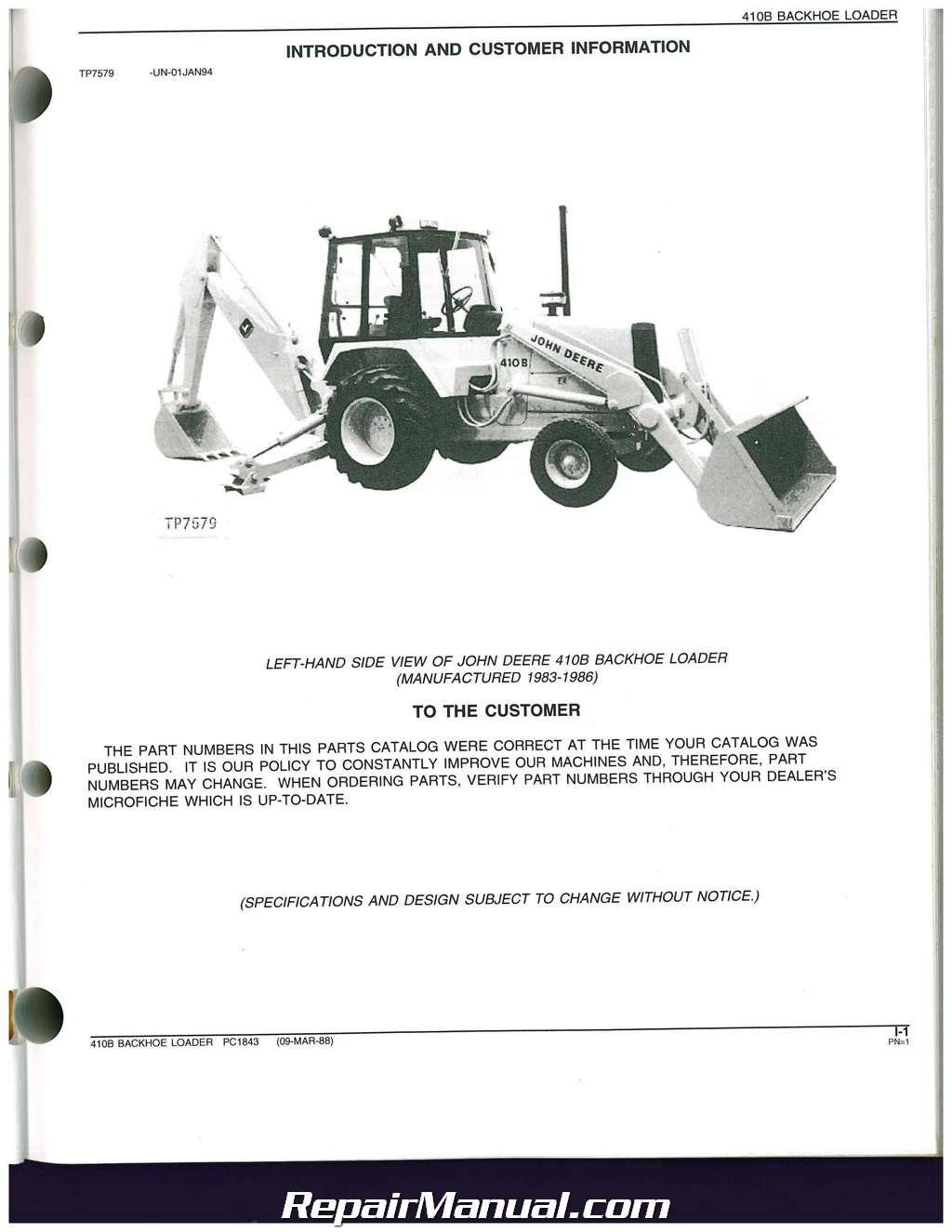 john deere 410 backhoe service manual