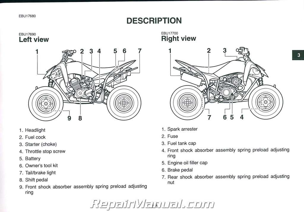 2011 Yamaha YFM125 Raptor ATV Owners Manual