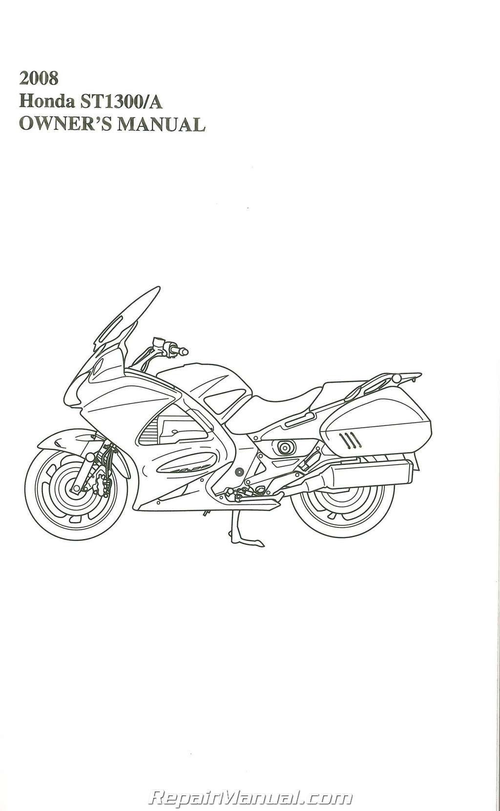 2008 Honda ST1300 A Motorcycle Owners Manual