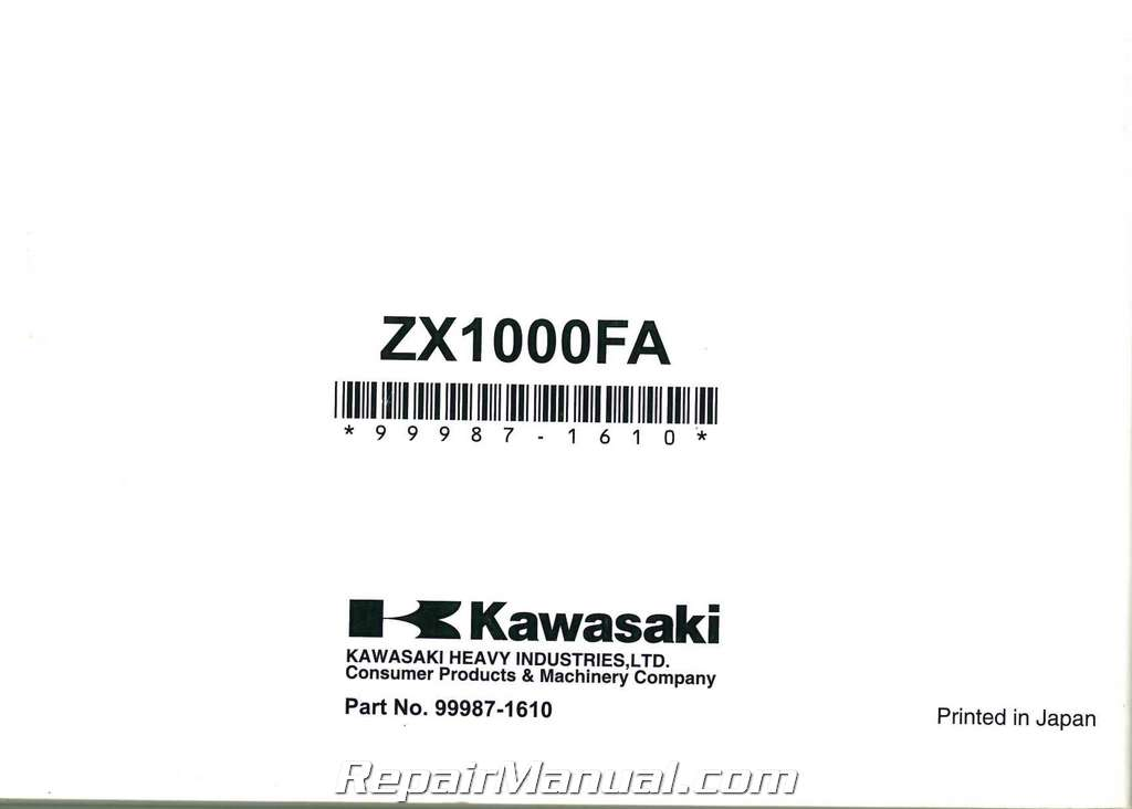 2010 Kawasaki ZX1000F Ninja ZX10R Motorcycle Owners Manual