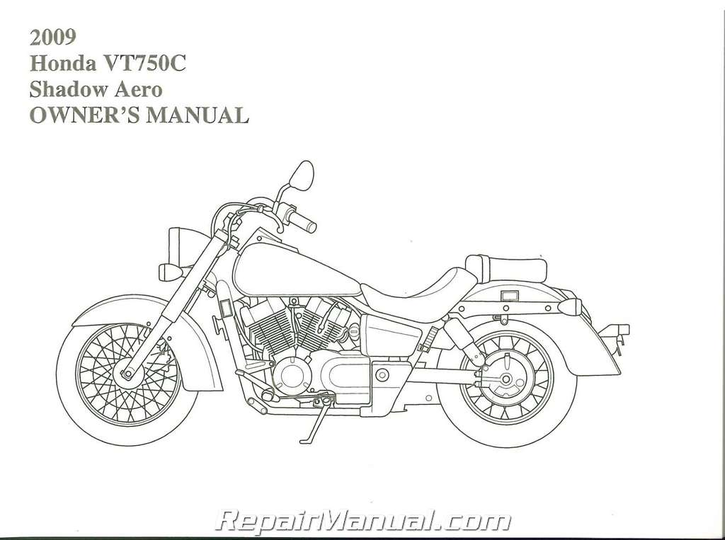 2009 Honda VT750C Shadow Aero Motorcycle Owners Manual