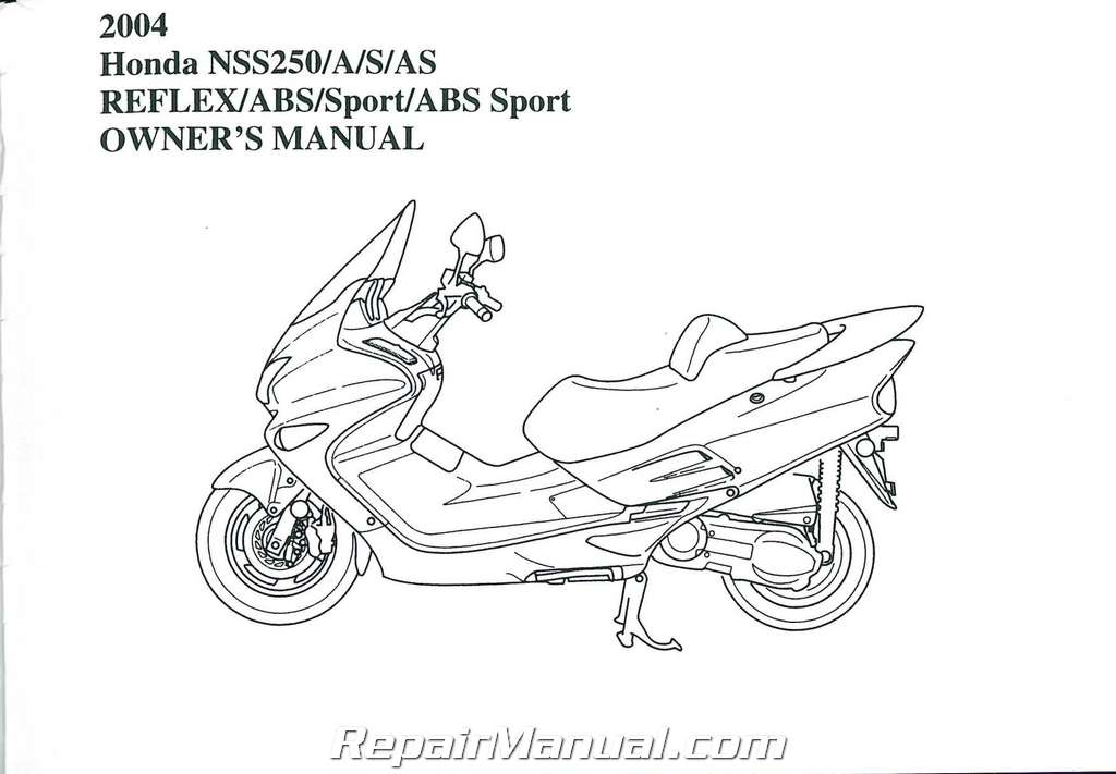 2004 Honda NSS250 A S AS Reflex Motorcycle Owners Manual