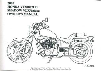 2001 Honda VT600 Shadow VLX Deluxe Motorcycle Owner Manual