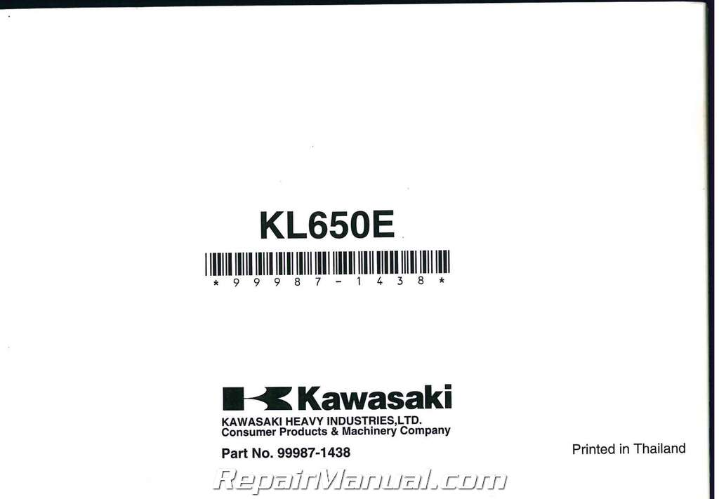 2008 Kawasaki KLR650 Motorcycle Owners Manual
