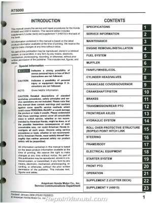 Honda H5013 RT5000 Lawn Tractor Shop Manual