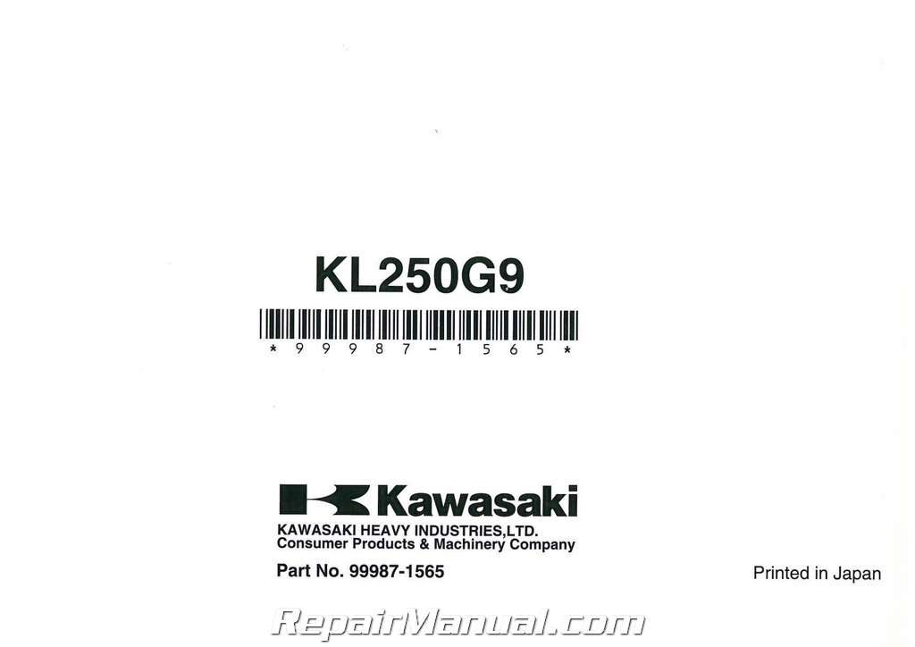 2009 Kawasaki KL250G Super Sherpa Motorcycle Owners Manual