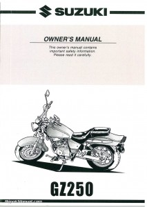 1999 2000 2001 Suzuki GZ250 Marauder Motorcycle Owners Manual
