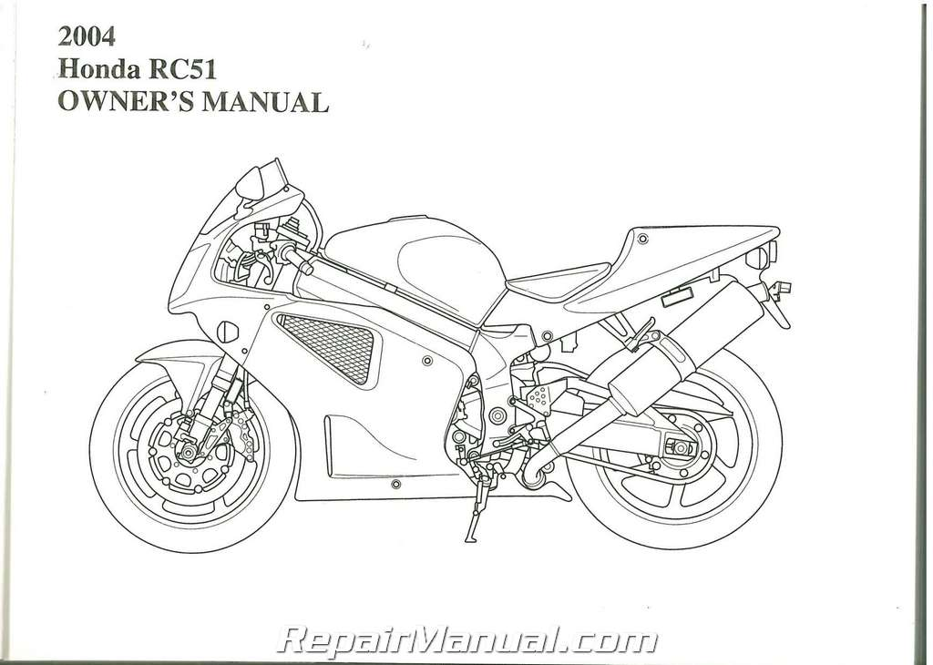 2004 Honda RVT1000R RC51 Motorcycle Owners Manual