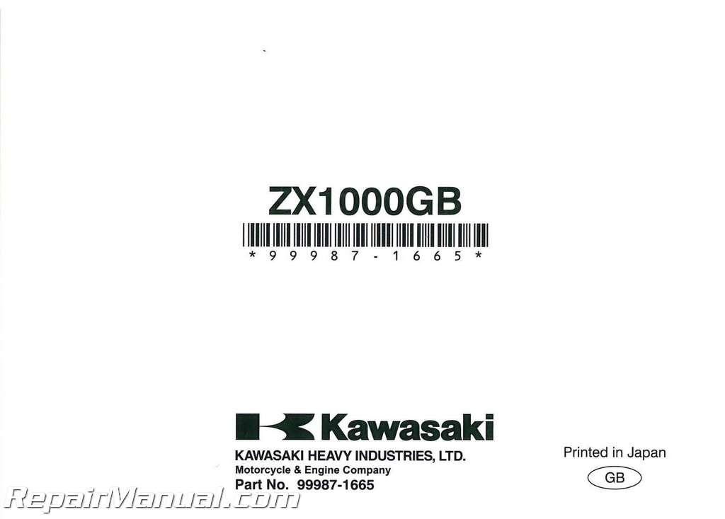 2011 Kawasaki Ninja 1000 ZX1000G Motorcycle Owners Manual