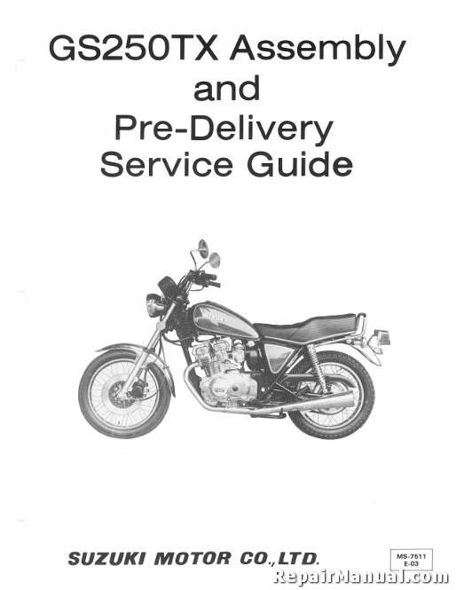 1981 Suzuki GS250TX Motorcycle Assembly Manual