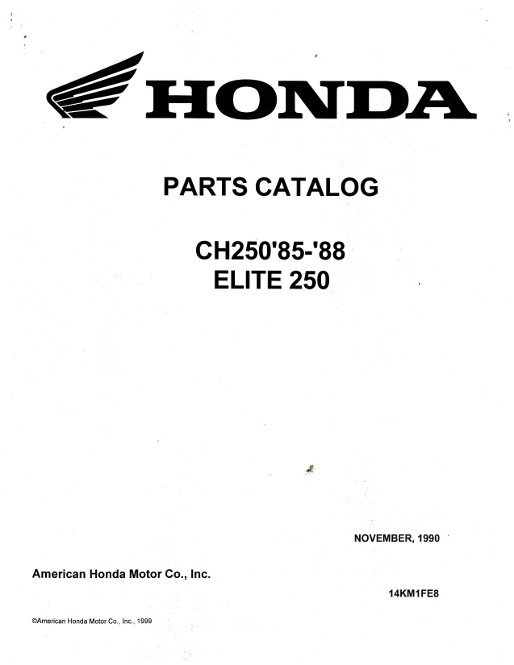 1985-1988 Honda CH250 Elite Parts Manual