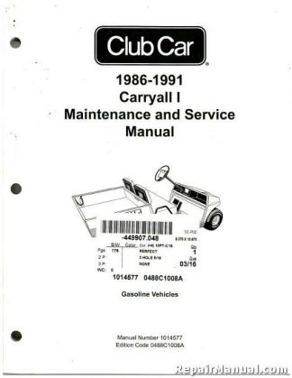 2009-2011 Club Car Gasoline Precedent Maintenance And