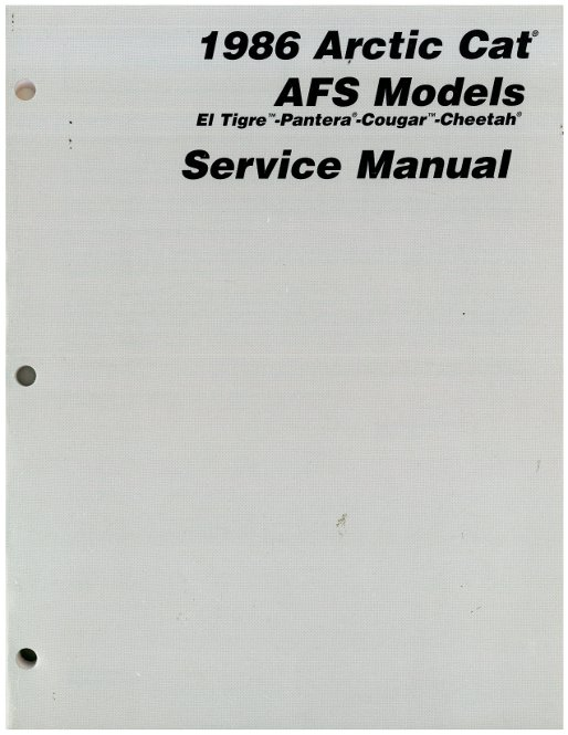 1986 Arctic Cat All AFS Snowmobile Service Manual