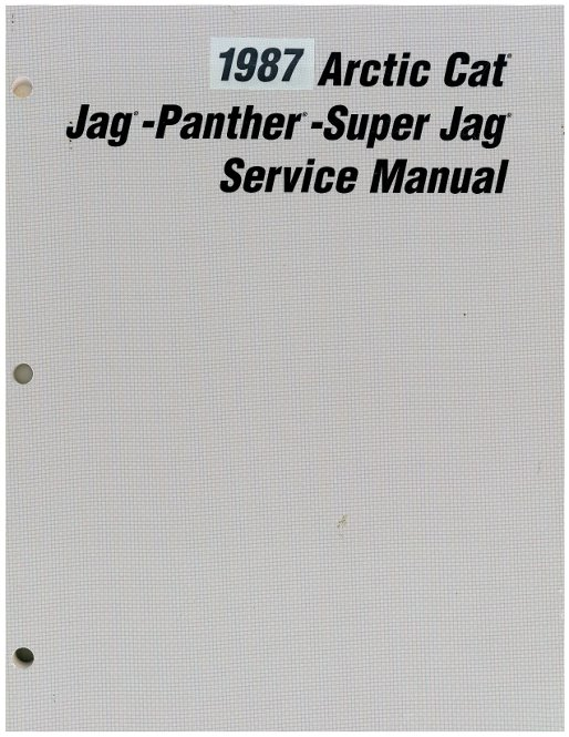 1987 Arctic Cat Jag Panther Super Jag Snowmobile Service Manual