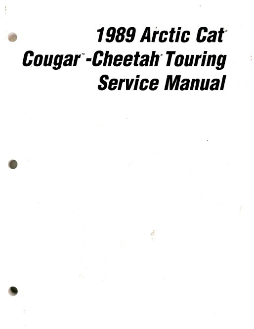 1989 Arctic Cat Cougar Cheetah Snowmobile Service Manual