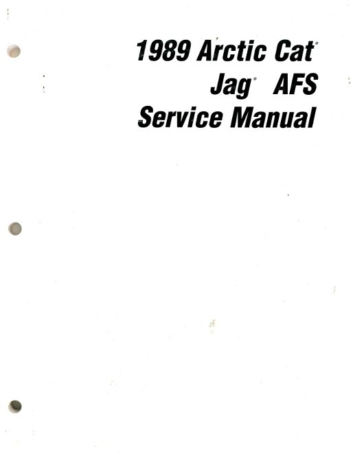 1989 Arctic Cat Jag AFS Snowmobile Service Manual
