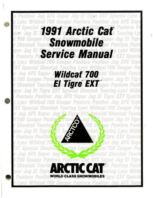 1991 Arctic Cat Wildcat El Tigre EXT Snowmobile Service Manual
