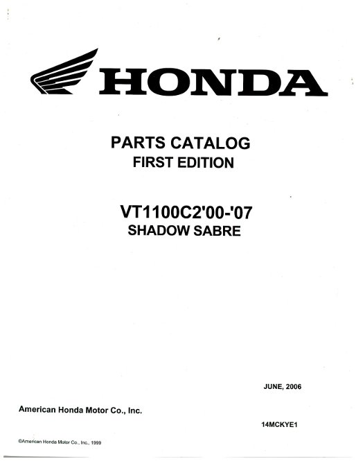 2000-2007 Honda VT1100C2 Shadow Sabre Parts Manual