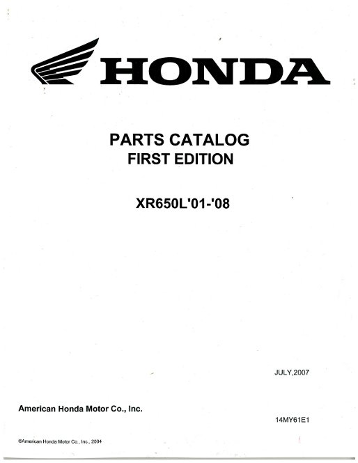 2001-2008 Honda XR650L Motorcycle Parts Manual