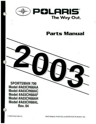 2003 Polaris Ranger Series 10 2×4 Parts Manual