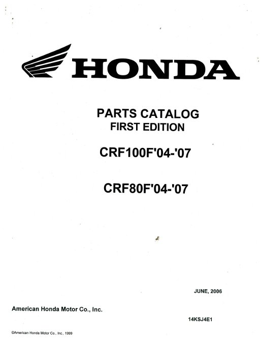 2004-2007 Honda CRF80F and 100F Parts Manual