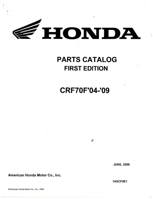 2004-2009 Honda CRF70F Parts Manual