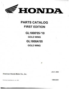 2005-2010 Honda GL1800 GOLDWING Motorcycle Spare Parts Manual