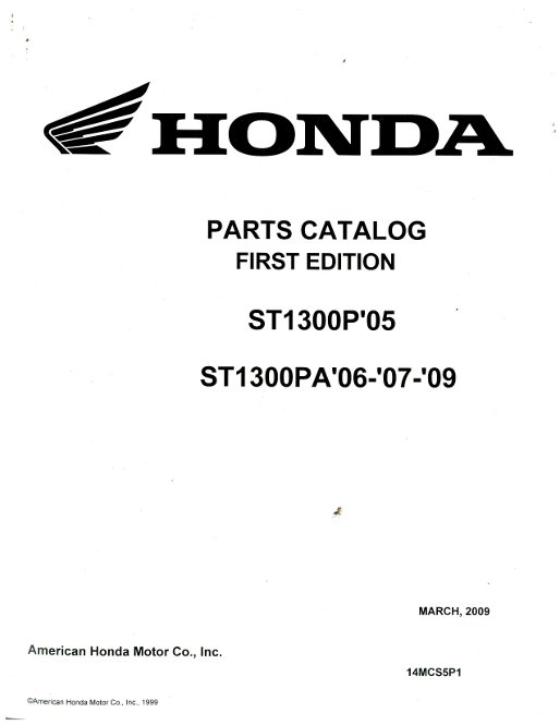 2005 Honda ST1300P 2006-2009 ST1300PA Parts Manual