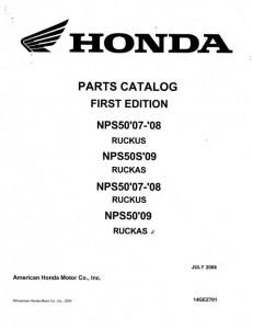 2007-2012 Honda NPS50 NPS50S Ruckus Scooter Parts Manual