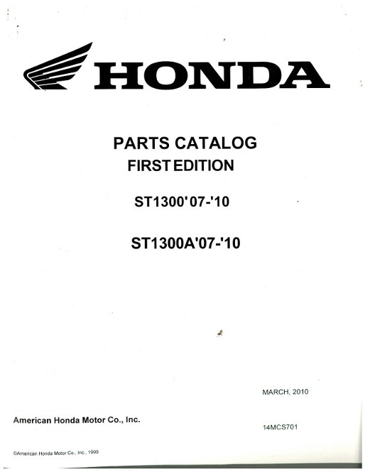 2007-2010 Honda ST1300 1300A Motorcycle Parts Manual