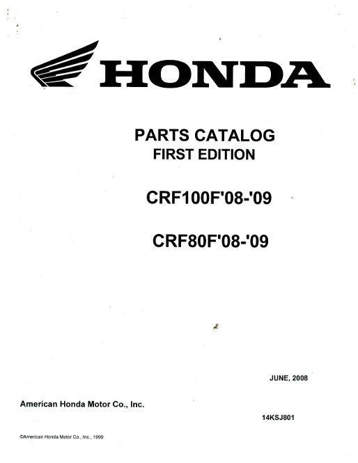 2008-2009 Honda CRF100F 80F Parts Manual