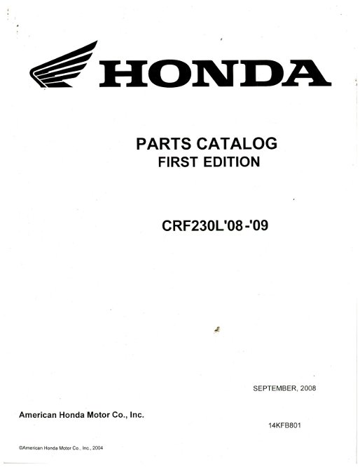 2008-2009 Honda CRF230L Motorcycle Parts Manual