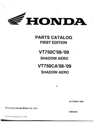 2008-2009 Honda VT750C VT750CA Parts Manual