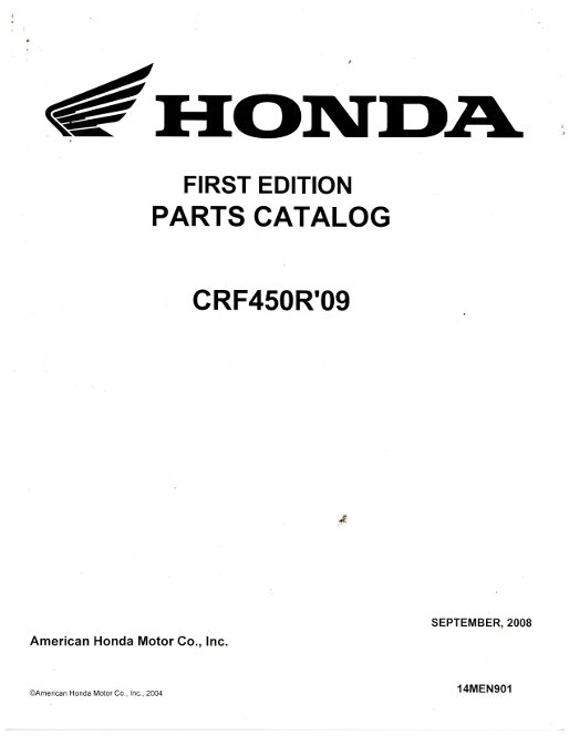 2009 Honda CRF450R Parts Manual