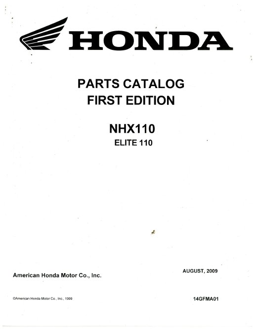 2010 Honda NHX110 Scooter Elite Parts Manual