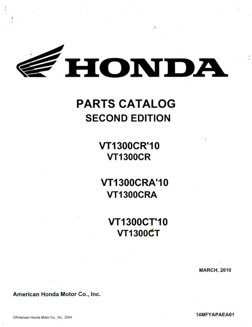 2010 Honda VT1300CR CRA CT Parts Manual