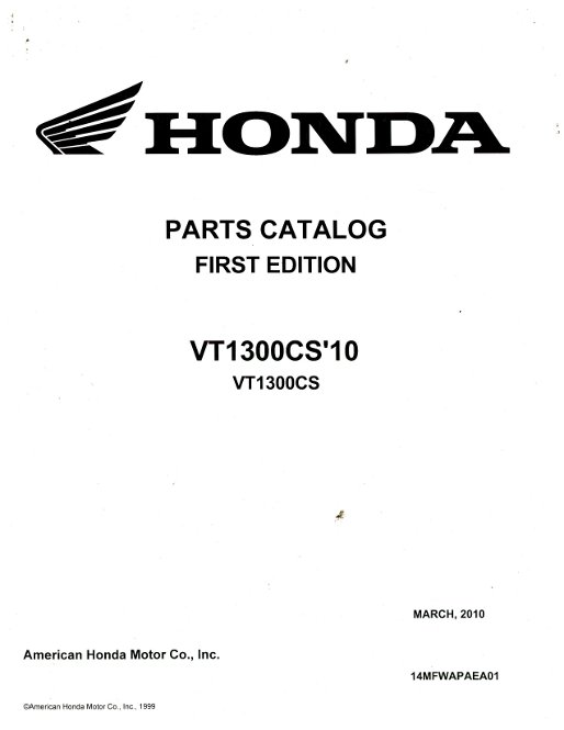 2010 Honda VT1300CS Parts Manual