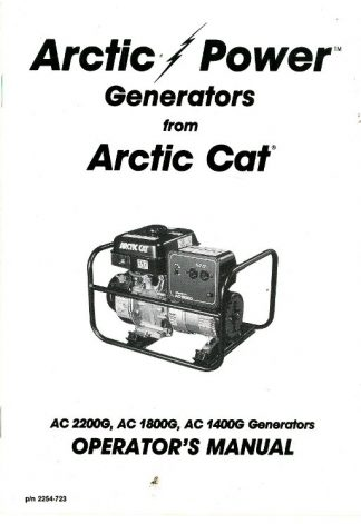 Arctic Cat 1400G 1800G 2200GD Generator Owners Manual