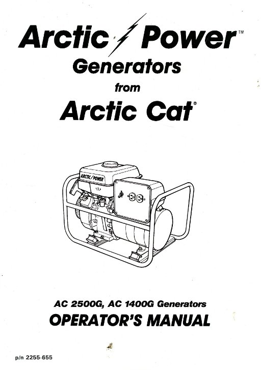 Arctic Cat 1400G 2500G Generator Owners Manual