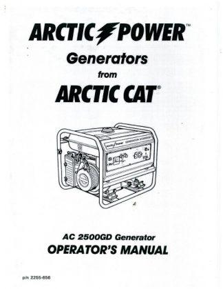 Arctic Cat 2500GD Generator Owners Manual