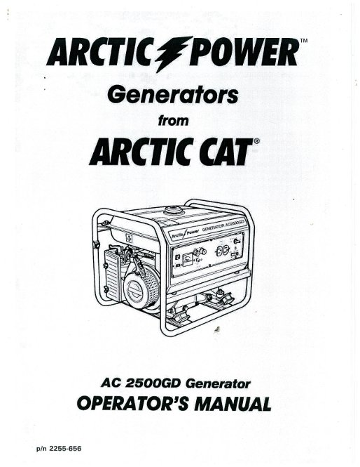 Arctic Cat 2500GD Generator Owners Manual