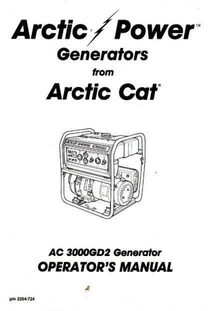 Arctic Cat 3000GD2 Generator Owners Manual