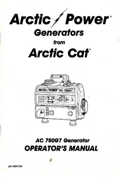 Arctic Cat 750GT Generator Owners Manual