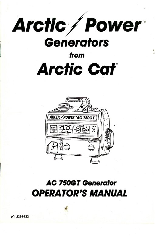 Arctic Cat 750GT Generator Owners Manual